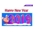 2019 banner with piggy girlon blue vector image vector image