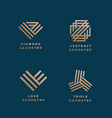 abstract geometry minimal signs set golden vector image