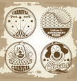 amusement park circus carnival emblems on vintage vector image