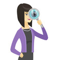 asian business woman with magnifying glass vector image vector image