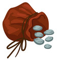 bag with thread and silver coins money in sack vector image