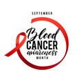 cancer hope blood cancer awareness label vector image vector image