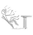 cartoon of man rocking and falling with chair vector image vector image