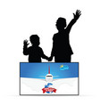 children silhouette with travel sign vector image vector image