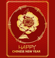 chinese new year gift card with golden camellia vector image vector image