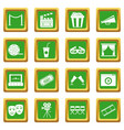 cinema icons set green vector image vector image