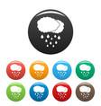 cloud rain icons set color vector image vector image