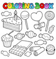 coloring book candy and cakes vector image