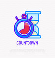 countdown thin line icon stopwatch and hourglass vector image