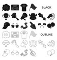 fan and attributes black icons in set collection vector image