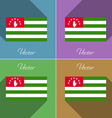 Flags Abkhazia Set of colors flat design and long vector image vector image