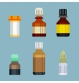 Flat style medical pharmaceutical bottles glasses vector image vector image