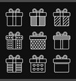 gift box icons set on black background line style vector image vector image