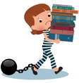 Girl schoolgirl prisoner with books in their hands vector image vector image