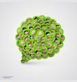 green speech bubble made smiling faces vector image