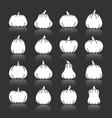 halloween pumpkin white silhouette icon set vector image