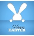 Happy easter card with hiding bunny and font on vector image