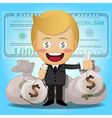 happy man holding big money bags vector image