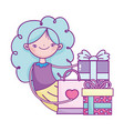 happy valentines day girl with gifts and shopping vector image