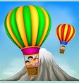 hot air balloons flying with happy kids vector image