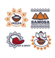 indian cuisine fast food restaurant icons vector image