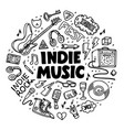 indie rock circle composition black and white vector image vector image
