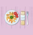 italian pasta on plate concept background cartoon vector image