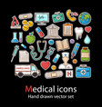 medical icon setfashion patch badges collection vector image