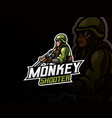 monkey warrior mascot vector image vector image