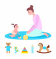 mother playing with kid mom and child with toys vector image vector image