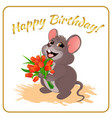 mouse with flowers vector image