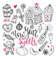 New year sweets set christmas hand drawn