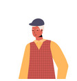 old man in casual trendy clothes senior male vector image