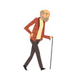 old man walks with a cane cartoon vector image
