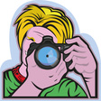 Photographer taking a picture with his camera vector image vector image