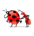 red ant and ladybug vector image vector image