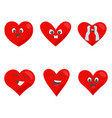 red hearts icon set love symbol funny emoticon vector image vector image