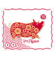 Red paper cut pig in frame and flower symbols