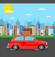 retro travel van car with bag on roof vector image