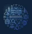 school concept blue round outline vector image vector image