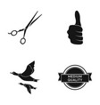 scissors thumb up and other web icon in black vector image vector image