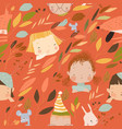 seamless pattern with kids faces and animals vector image