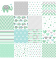 set of baby shower patterns vector image