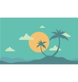 Silhouette of two palm at sunset vector image