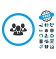 Staff Flat Icon with Bonus vector image vector image