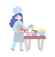 stay at home female chef with different food vector image vector image