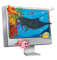 Stingray swimming on computer screen vector image