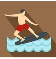 Surfer man on surfboard icon flat style vector image vector image