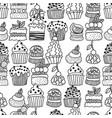 sweet cakes cupcakes black and white seamless vector image vector image