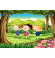 Three playful kids at the forest vector image vector image